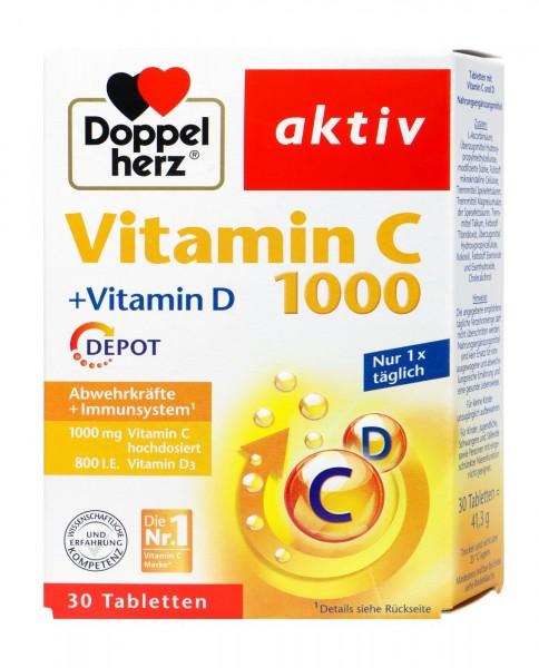 Doppelherz Vitamin C 1000 + Vitamin D Depot, 30 er