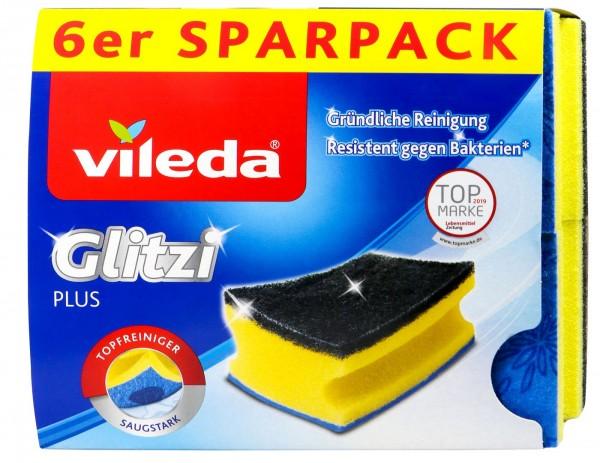 Vileda Glitzi Plus Topfschwamm gelb/grün, 6 er
