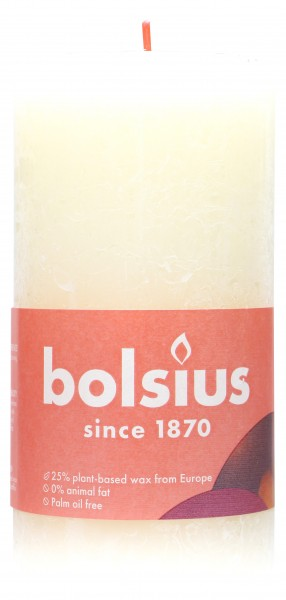 Bolsius Stumpenkerze Rustik Elfenbein, 13 x 7 cm