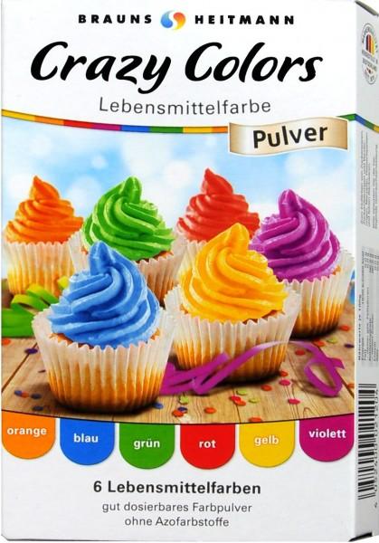 Lebensmittelfarbe Crazy Colors, 6 x 4 g