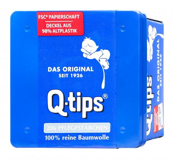Q-Tips Wattestäbchen Box, Papierschaft, 206 er