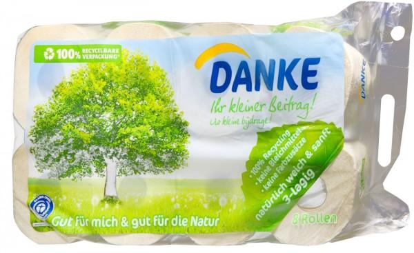 Danke Tissue Toilettenpapier 3-lagig, 8 x 150