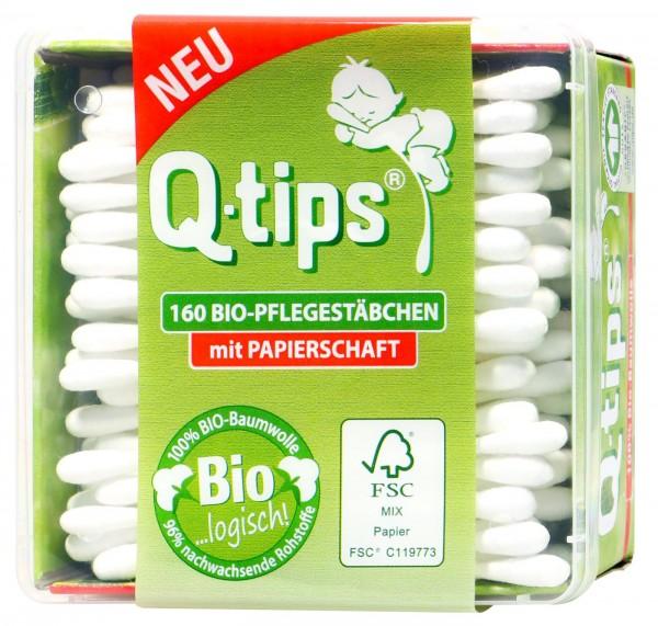 Q-Tips Wattestäbchen 100% Bio-Baumwolle,Papierschaft, Box, 160 er