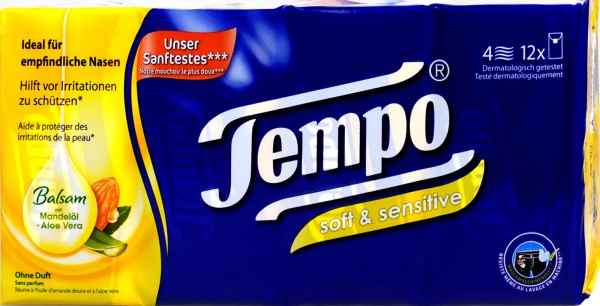 Tempo Soft & Sensitive Balsam Mandelöl und Aloe Vera, 12 x 9