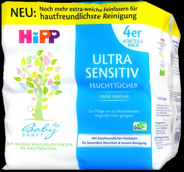 Hipp 9590 Babysanft Feuchttücher Sensitiv, 4 x 56 er