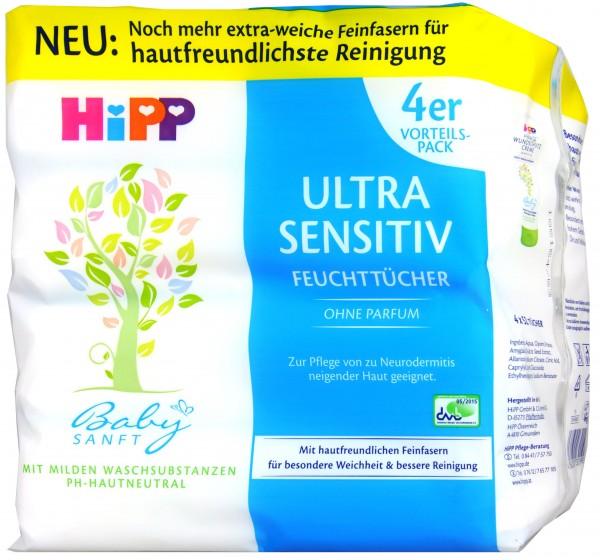 Hipp 90001 Babysanft Feuchttücher ohne Parfum, 4 x 52 er